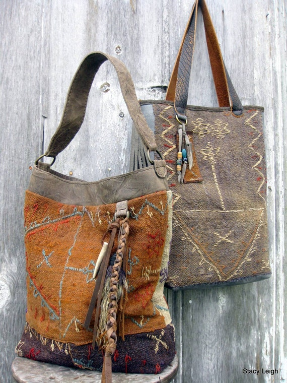 Carpet Bag From 19th Century Hand Woven Tribal Rug By Stacy