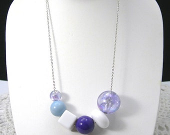 """Purple Beads Necklace, Purple White Blue Plastic Beads on Silver-Plated 18"""" Chain, Handmade by Me, Jewelry"""