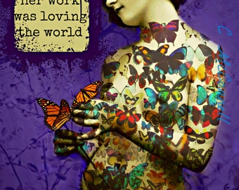 Art Deco Tattoo Butterfly Girl Poster Photomontage Instant Digital Download Mixed Media Collage Photo Monarch Tattoo Uplifting Quote Purple