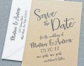 Maria Black Script Kraft Wedding Save the Date Sample - Rustic Hand Lettering Calligraphy Script