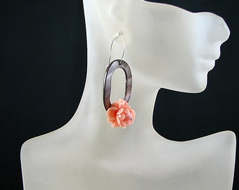 Handcrafted Brown Mother of Pearl and Pink Lotus Flower Long Earrings - Sterling Silver - Kidney EarWire
