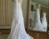 Rustic Victorian Lace Collage Boho Wedding Dress Bridal Gown