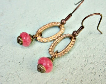 Faceted Peach Jade on Gilt and Rustic Brass Dangle Earrings: Facile