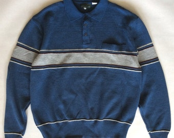 Vintage collar sweater by Haband of New Jersey, blue with gray, white, sage, and burgundy stripes across the chest, men's medium