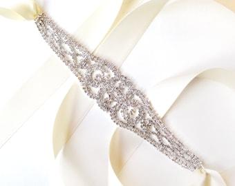 SALE! Stunning Rhinestone Bridal Belt Sash or Headband - Custom Ribbon White Ivory Silver - Crystal - Wedding Dress Belt