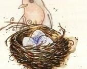 "Mama Bird Robin Greeting Card // Illustrated Animal Friendship Birthday Anniversary Gift Card 4"" x 5"""