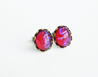 Dragons Breath Earring Studs Vintage Red Glass Post Earrings Mexican Opal Studs Hypoallergenic Iridescent Earrings Dragons Breath Jewelry