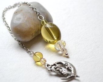 Moon Goddess Faceted Crystal, Glass Pendulum - Handmade OOAK -Dowsing Divination Meditation, Metaphysical Healing, Yellow, Free US Shipping