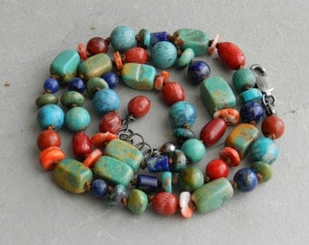 Turquoise, Coral, Spiny Oyster and Lapis Hand Knotted Bright Shades Blue, Green, Red, Orange Gem Necklace