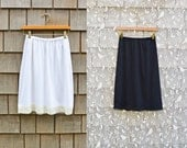 Organic Half Slip Skirt Extender with Lace Lingerie Black or Natural Off White Soft Jersey Knit Stretch Eco Friendly Organic Cotton Bamboo