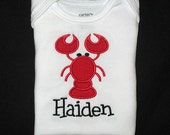 Custom Personalized Applique LOBSTER and NAME Bodysuit or Shirt - Red and Black