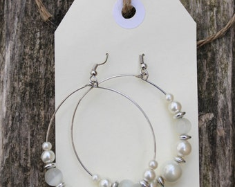 pearl white bead hoop dangle fashion earrings