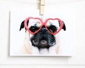 Pug Sees Love Card - Pug Card - Pug Valentine - Pug Anniversary Card - Valentine's Day Card - Romantic Card