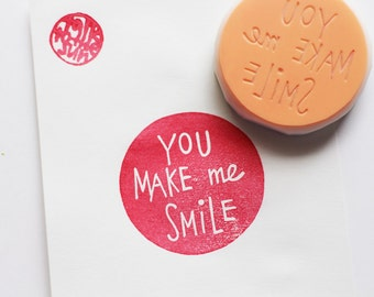 you make me smile stamp. circle hand carved rubber stamp. hand lettered stamp. scrapbooking. gift wrapping. diy mother's day valentines