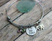 I love you tons stainless steel adjustable bangle bracelet with pewter elephant charm, and Swarovski crystal birthstones, mom jewelry