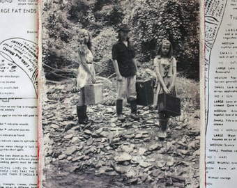 Black and White, Photography, Wanderer, Transient Children, Hobo, Vintage Suitcases, Original Art, 5 x 7, Tiny Art
