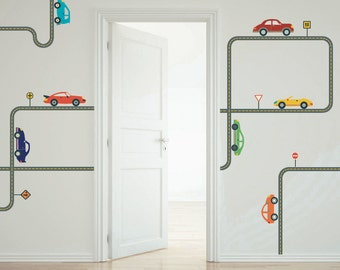 Cars Wall Decals with Straight and Curved Gray Road Reusable Fabric Wall Decal Stickers