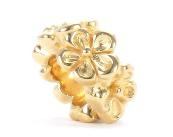 Bella Fascini Luxury Quality 14K Gold Flower Bouquet Spacer Band - 925 Sterling Silver Charm Bead Fits Pandora, Chamilia & All Compatibles