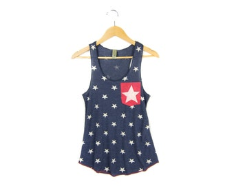 Starry Pocket Tank - Racerback Scoop Neck Swing Tank Top in Navy White Stars and Stripes - Women's Size S-XL