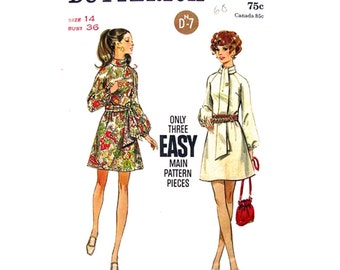 1960s Vintage Dress Pattern Butterick 5654 Bust 36 Mod Mini Dress Raglan Sleeves & Sash or Tie Womens Sewing Pattern