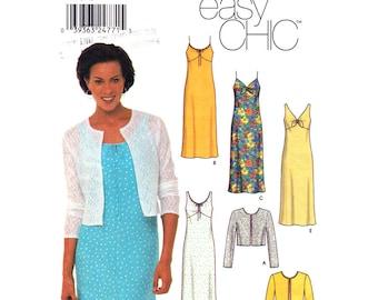 Jacket & Dress Pattern Simplicity 9621 Shoulder Strap Summer Dress, Cardigan Womens Size 6 8 10 12 Sewing Pattern UNCUT