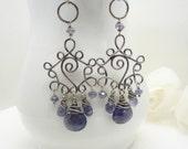 Long navy blue earrings in sterling silver, iolite dark blue water sapphire wire wrapped chandelier earrings