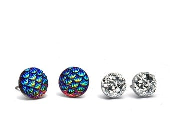 Dragon Scale and Faux Druzy Stud Earrings, Blue Red Gold Shimmer, Silver Metallic, Stainless Steel or Titanium Posts, 2 Pair Set, 10mm, 8mm