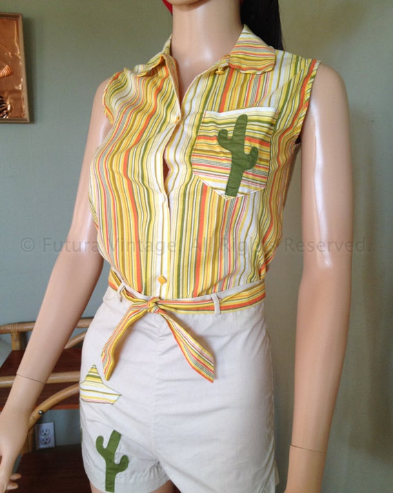 1950s Rare Two Piece Adorable Novelty Cactus Sombrero Outfit Striped Sleeveless Top and Shorts with Tie Belt XS
