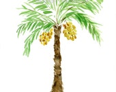 Palm Tree art print, palm tree watercolor painting, Green, brown, Yellow, tropical print, Mediterranean, Date Tree art, trees of the bible