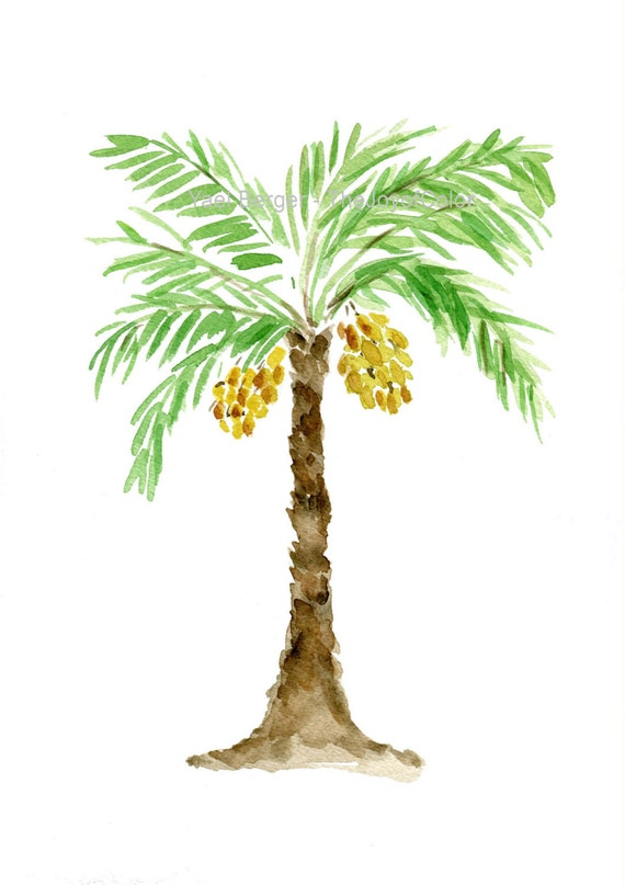 Palm tree art print palm tree watercolor print green brown for Painting palm trees