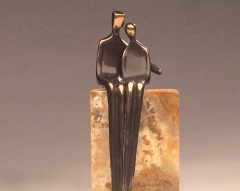 "CLOSE TO ME  >> 8"" high end silicone bronze sculpture and stone pedestal anniversary gift with arm around her."