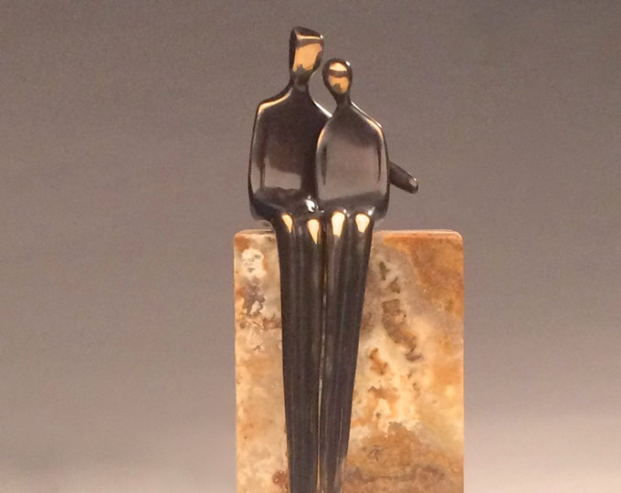 "Close to Me 8"" high end silicone bronze sculpture and stone pedestal wedding gift with arm around her."