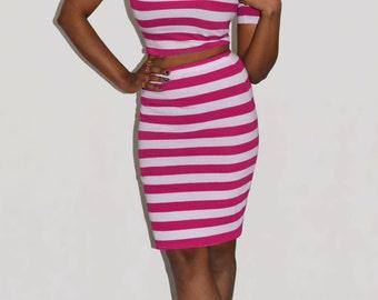 Stretch pencil skirt Knee length skirt Pink stripe skirt Stretch jersey skirt Bodycon skirt High waist skirt Pink white skirt Wiggle skirt