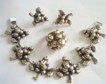 925 Grape Cluster 3 Pcs Set Made in Mexico Silver Ring Bracelet Earrings
