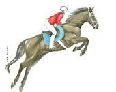 Horse riding Art watercolor drawing