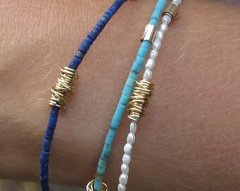 Dainty Gold Beaded Bracelet , Bohemian Minimalist Jewelry , Lapis Bracelet