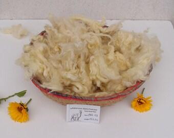 Pastel Yellow Premium Huacaya Alpaca Fleece, 2.6 oz Hand Dyed Fiber for Spinning and Felting, fluffy wool basket filler photography prop