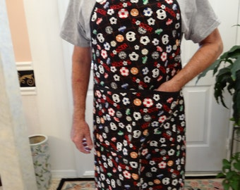 SOCCER MOTIF APRON:  barbacue/chef /cooking apron, generously sized,Black red white colors