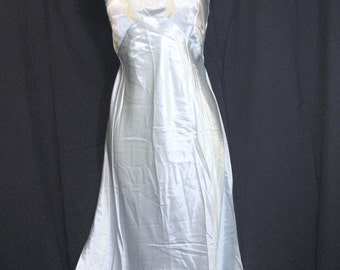 Vintage Art Deco Style 1930's~ ALICE BLUE~Bias Cut~ Shimmer Rayon Satin~French Lace Nightgown Gown~Satin & Old Lace~Tailored by Ful-Fashond