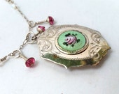 Eau De Rose- Antique Silver Plated Enameled Perfume Locket On Handmade Sterling Chain With Crystals and Matching Earrings
