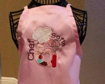Kids apron, Personalized Girls Apron, Personalized Boys Apron, Pretend Play Kitchen, Applique, cooking, baking, hostess, host, BBQ