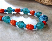 Aqua Blue and Orange African Glass Necklace Recycled Teal African Glass Javanese Orange Melon Glass Beads on Leather AfricanJewelry
