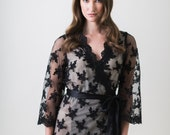 Sample Sale, Final Sale - Getting Ready Robe - Bridal Robe - Bridesmaid Robe - Black and Nude Robe