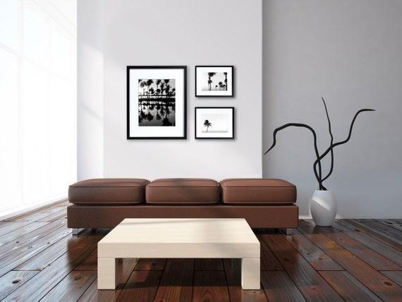 Sale - Black and White Beach Photography, Palm Trees, Tropical, Beach House Decor, Minimalist, Set of 3 Prints, Save 40%