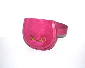 GUCCI Vintage Belt Bag Hot Pink Suede Leather Fanny Pack - AUTHENTIC -