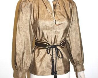 SAINT LAURENT Rive Gauche Vintage Silk Tunic Top in Golden Paisley with Suede Belt - AUTHENTIC -