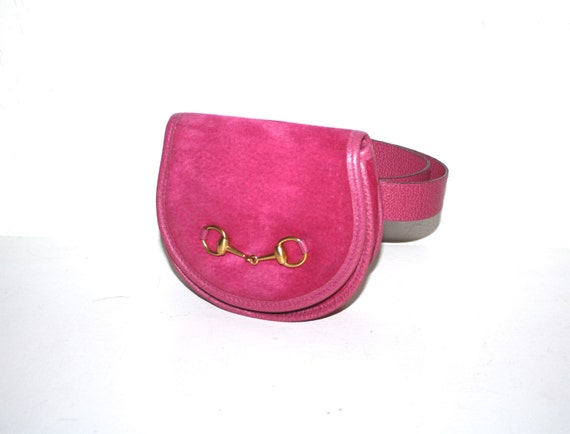 GUCCI Vintage Belt Bag Hot Pink Suede Leather Fanny Pack