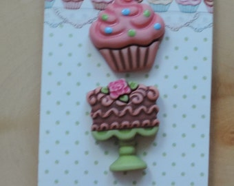 Bake Shop Buttons Carded Novelty Buttons Bake Shop SD117 by Buttons Galore Includes Cake Pie and Cupcake Buttons Set of 3