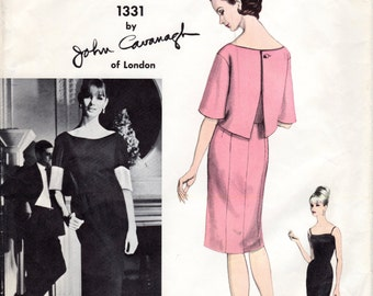 1960s Slim Evening Dress & Overblouse - Vintage Vogue Couturier 1331 - B34 John Cavanaugh