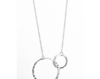 Medium Linked Circle Necklace - Handmade Asymmetrical Link Rings Hammer Texture Statement Sterling Silver